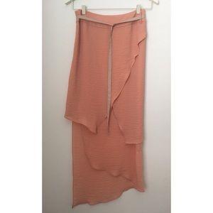 Asymmetrical Hem Maxi Skirt
